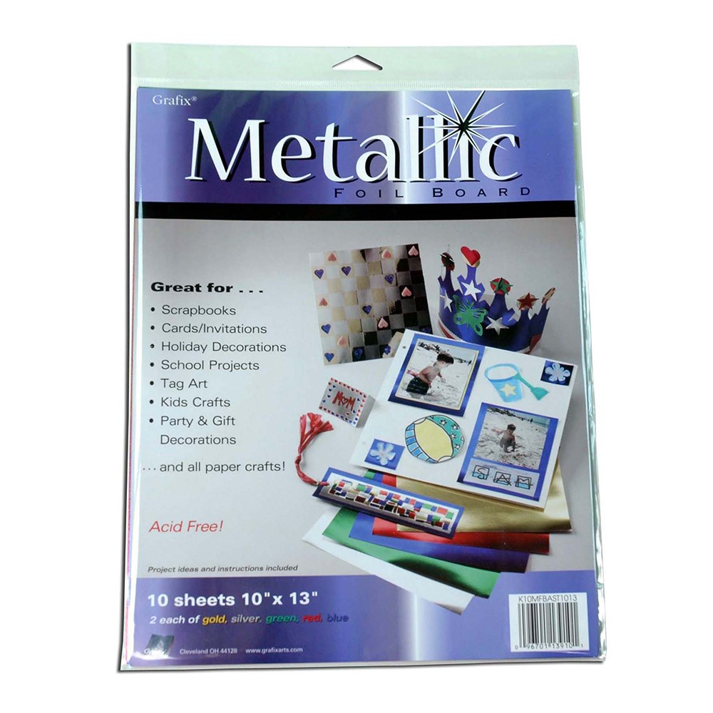 Grafix : Metallic Foil Board 10x13in : Pack of 10 : Assorted Colours