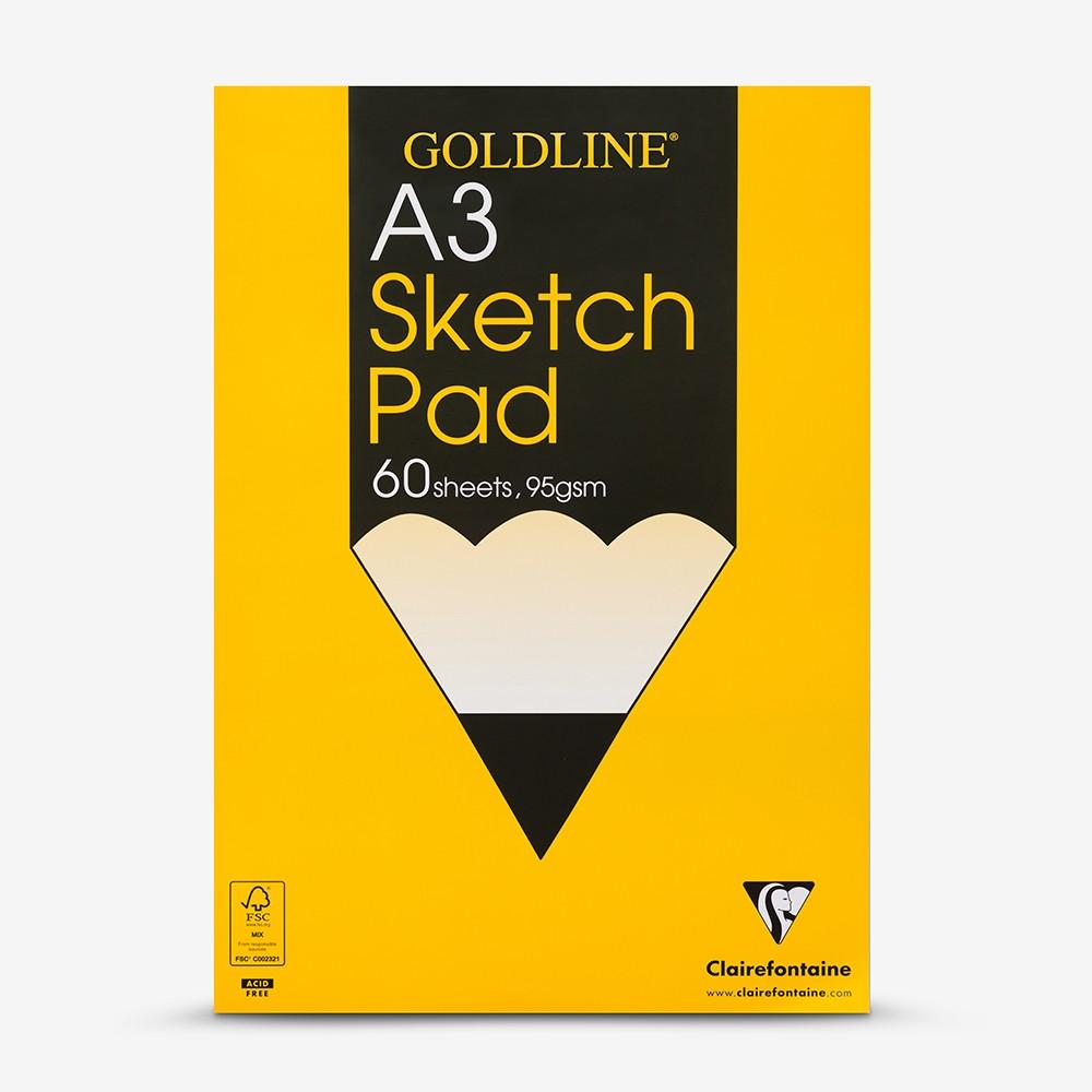 Goldline : Glued Sketch Pad : 95gsm : 297x420mm (A3 29.7x42cm)