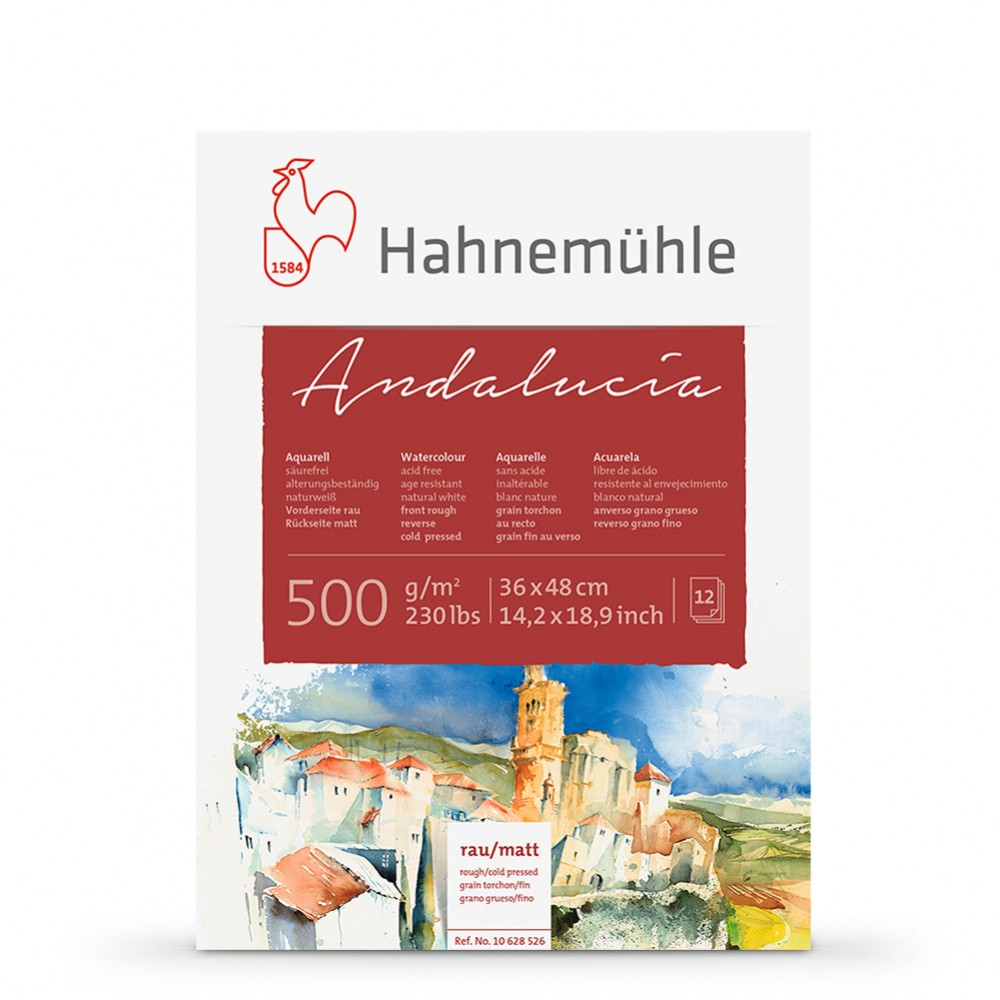 Hahnemuhle : Andalucia block 500gsm : 235lb : 36x48cm : 12 Sheets : Rough/Not