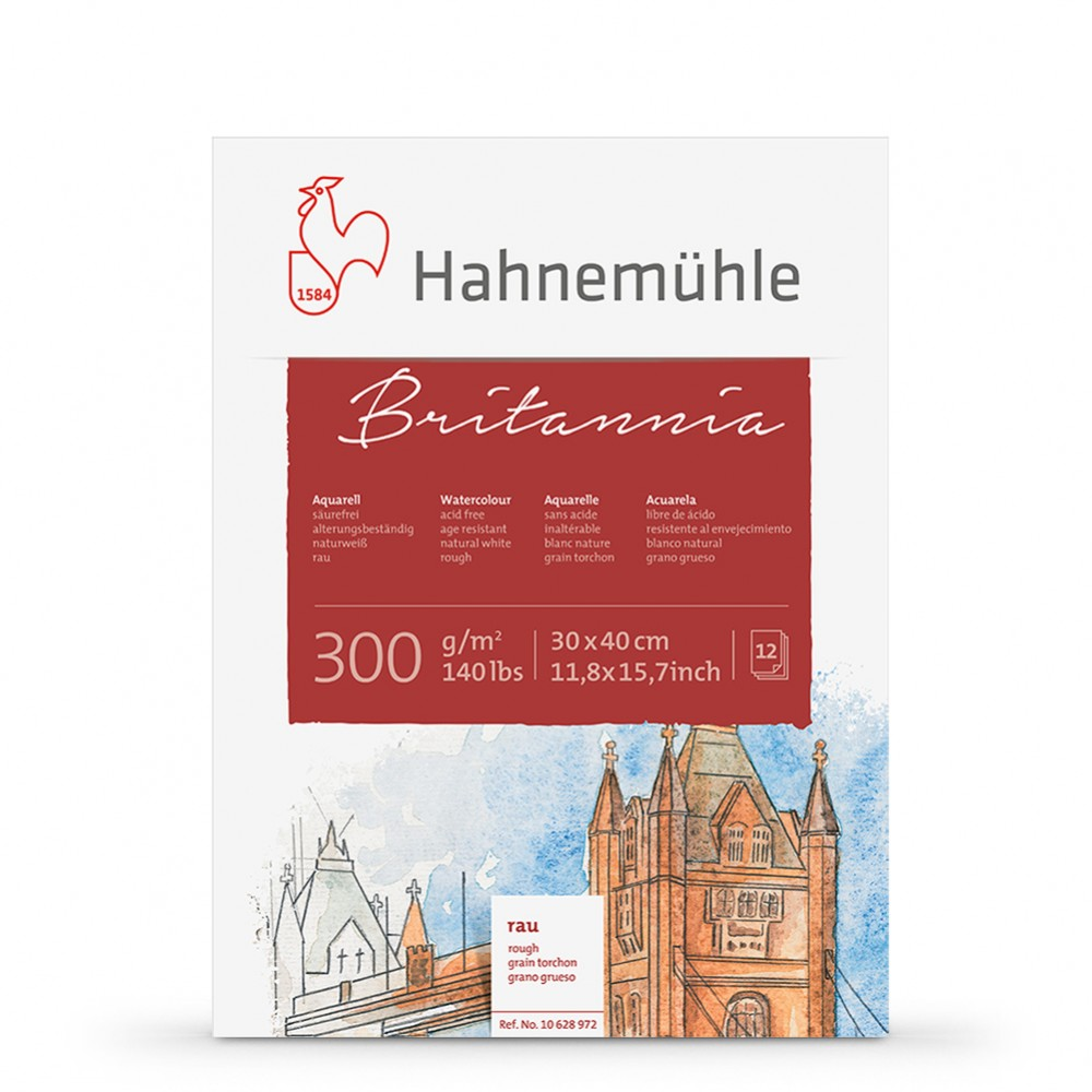 Hahnemuhle : Britannia : Block : 300gsm : 140lb : 30x40cm : 12 Sheets : Rough