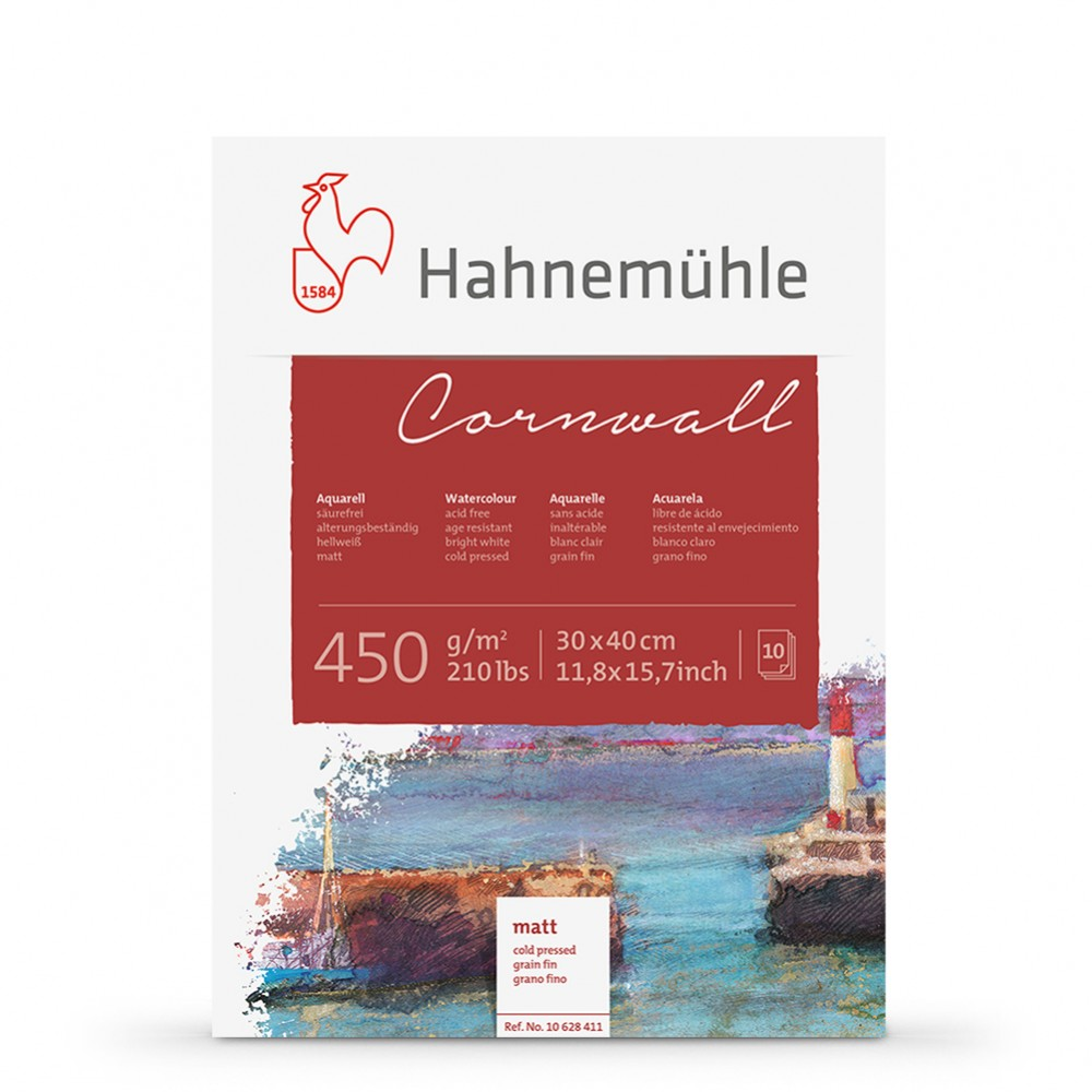 Hahnemuhle : Cornwall : Block : 450gsm : 210lb : 30x40cm : 10 Sheets : Not