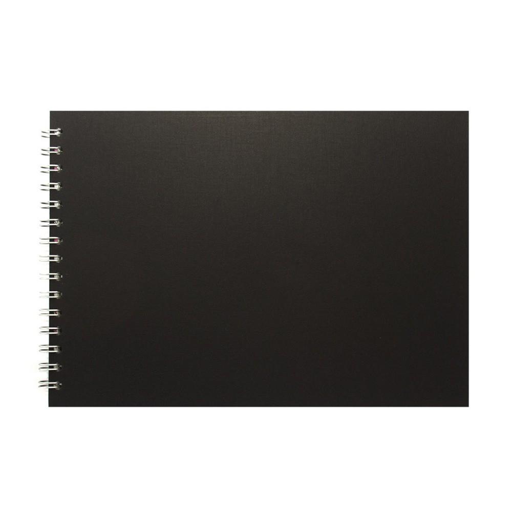Pink Pig : Sketchbook : 150gsm : A4 : Black Cover : Landscape