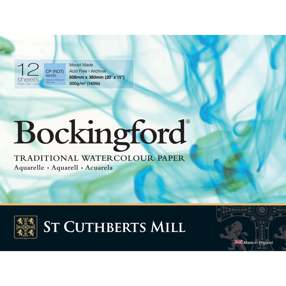 Bockingford : Glued Pad : 15x20in : 300gsm : 12 Sheets : Not