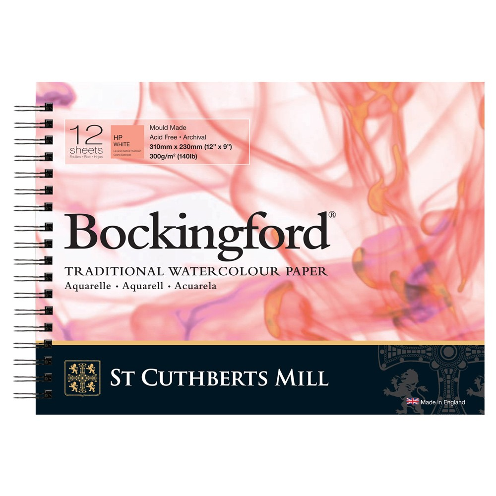 Bockingford : Spiral Pad : 9x12in : 300gsm : 12 Sheets : Hot Pressed