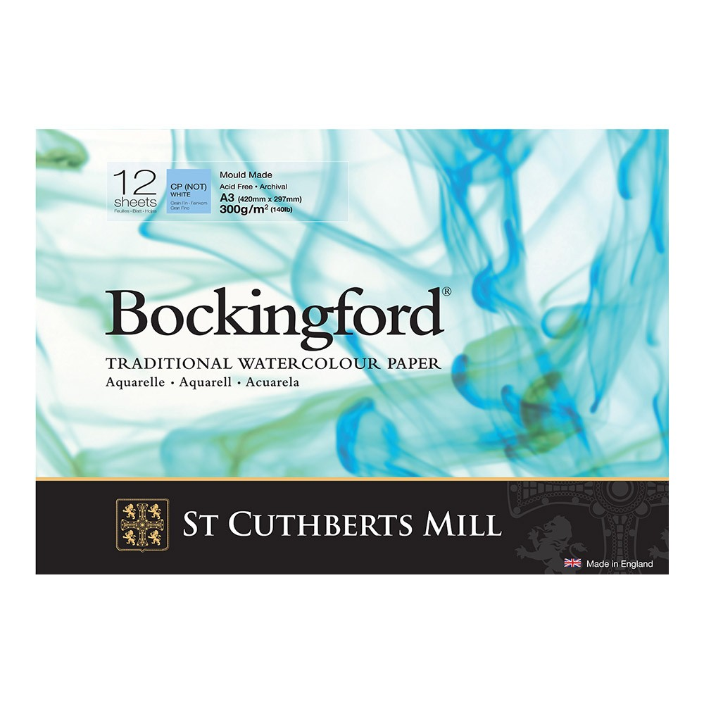Bockingford : Watercolour Paper : Glued Pad : 300gsm : 12 Sheets : A3 : Not
