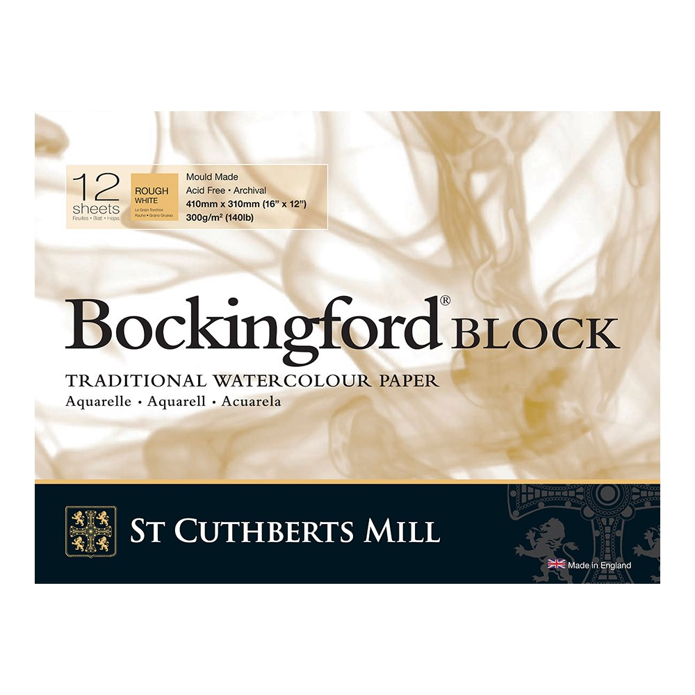 Bockingford : Block : 12x16in : 300gsm : 12 Sheets : Rough