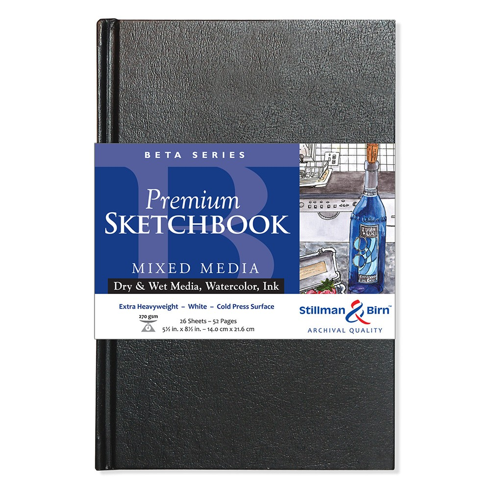 Stillman & Birn : Beta Sketchbook 5.5 x 8.5in Hardbound 270gsm - Natural White Cold Press/Rgh