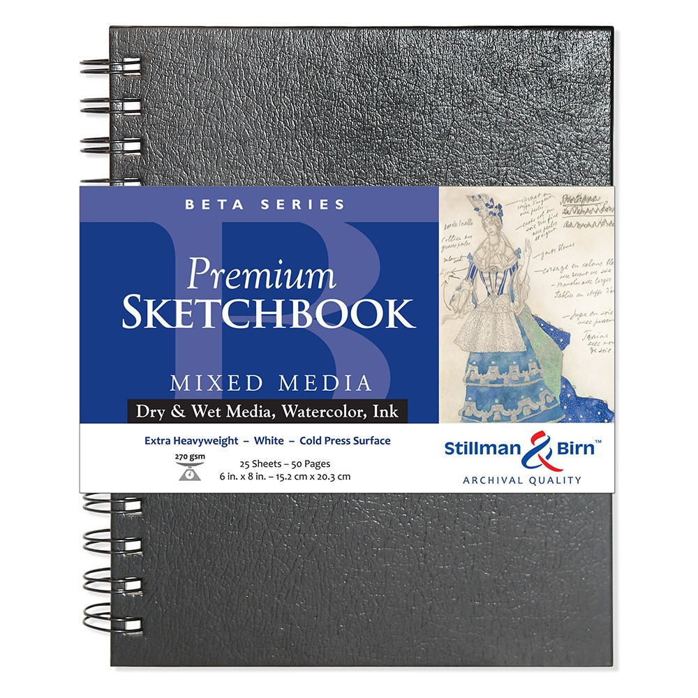 Stillman & Birn : Beta Sketchbook 6 x 8in Wirebound 270gsm - Natural White Cold Press/Rgh
