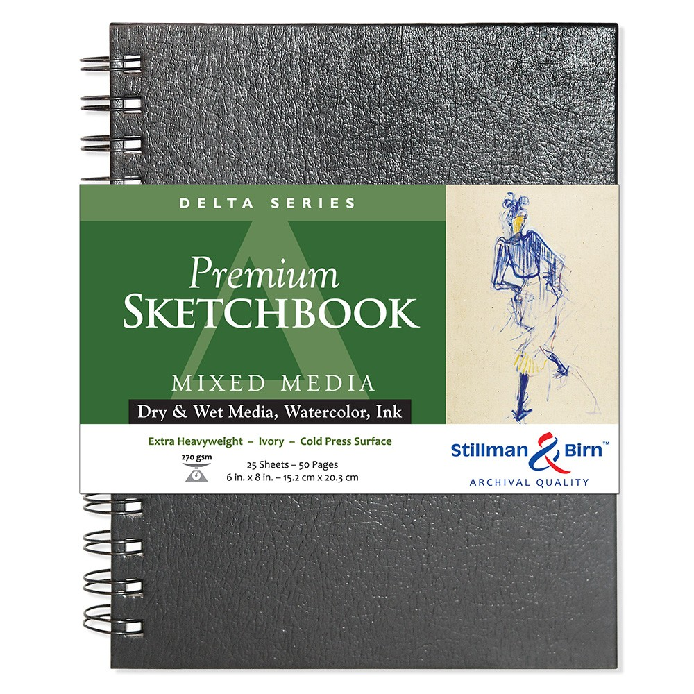 Stillman & Birn : Delta Sketchbook 6 x 8in Wirebound 270gsm - Ivory Cold Press/Rgh