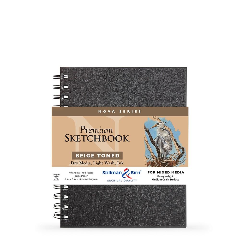 Stillman & Birn : Nova : Wirebound Mixed Media Sketchbook : 150gsm : 6x8in (15.2x20.3cm) : Beige