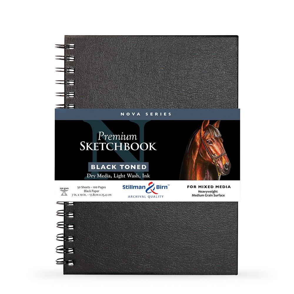 Stillman & Birn : Nova : Wirebound Mixed Media Sketchbook : 150gsm : 7x10in (17.8x25.4cm) : Black