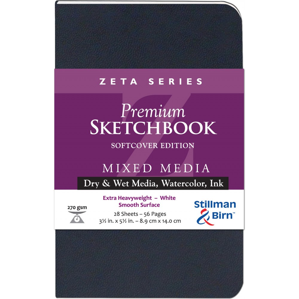 Stillman & Birn : Zeta Softcover Sketchbook : 270gsm : Smooth : 3.5x5.5in (9x14cm) : Portrait