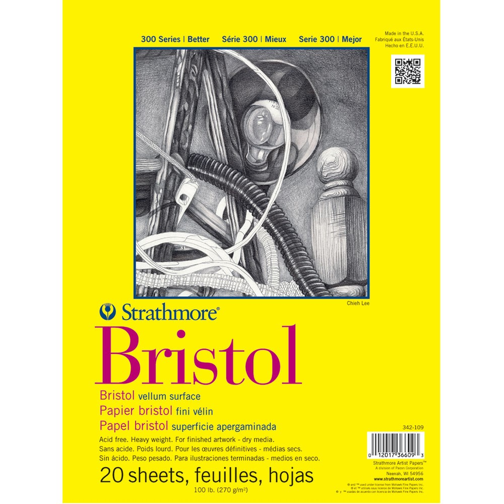 Strathmore : 300 Series : Bristol Paper : Pad : 9x12in : 20 Sheets : Vellum