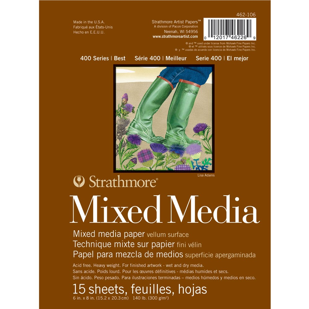 Strathmore : 400 Series : Mixed Media Pad : 300gsm : 6x8in : 15 Sheets : Vellum