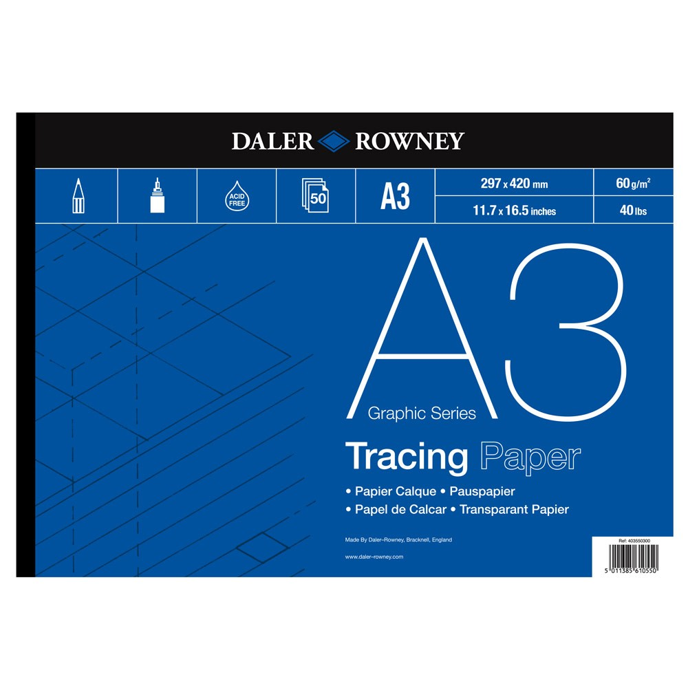 Daler Rowney : Tracing Pad : 60gsm : 50 sheets : A3