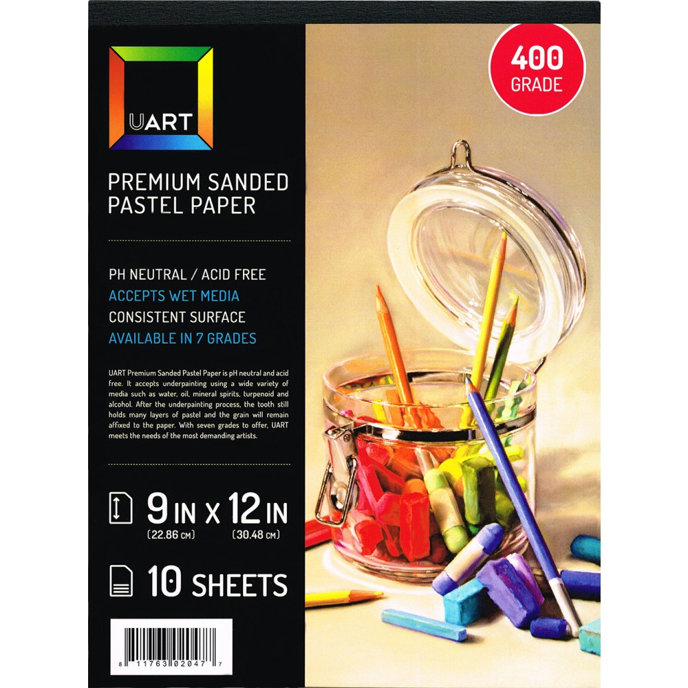 UART : Sanded Pastel Paper : 10 Sheet Pad : 9x12in (23x30cm) : 400 Grade