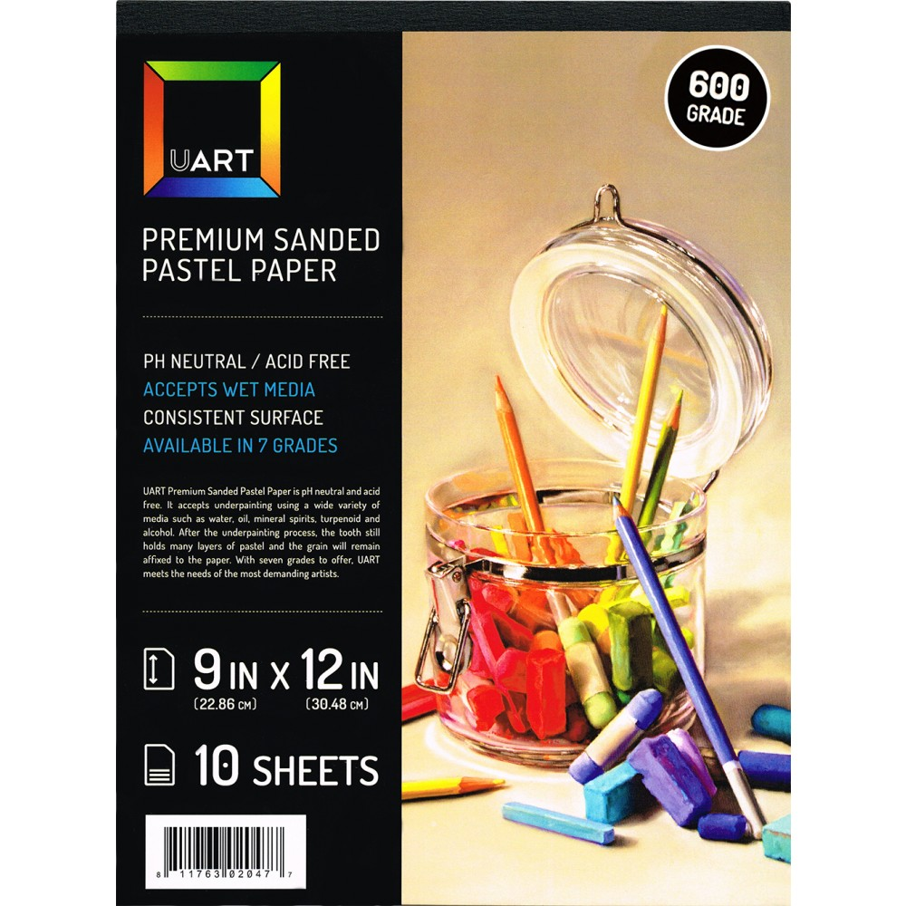 UART : Sanded Pastel Paper : 10 Sheet Pad : 9x12in (23x30cm) : 600 Grade