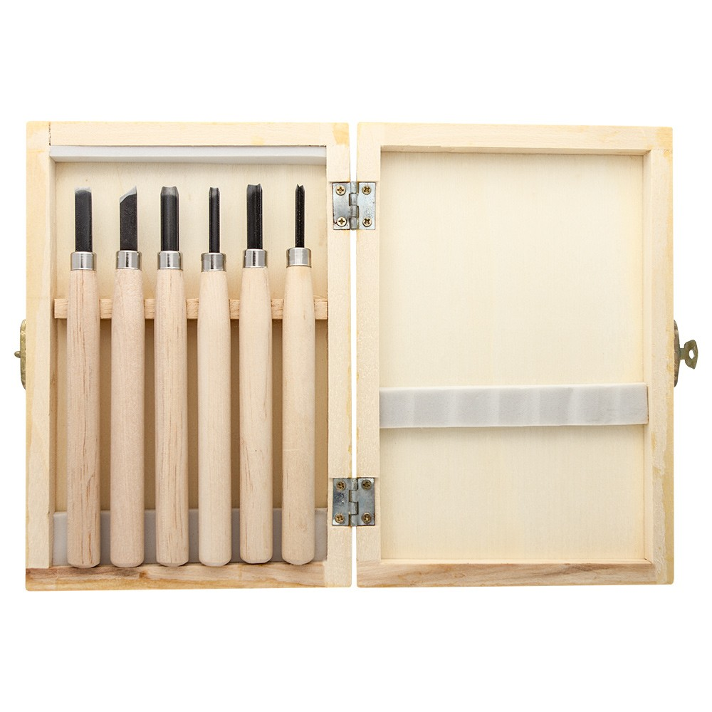 JAS : Wood Cut Knife : Wooden Box Set of 6