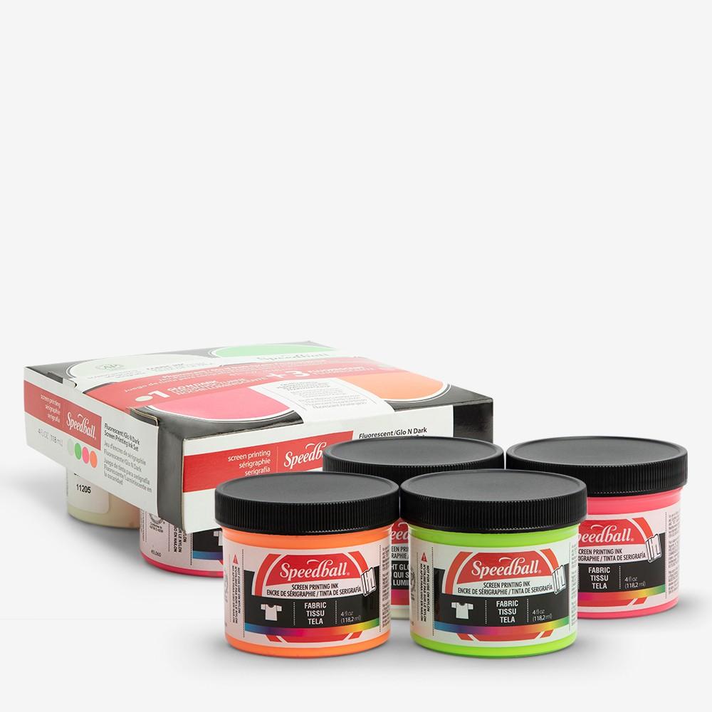 Speedball : Glo n' Dark & Fluorescent Fabric Screen Printing Ink Se : Set of 4 x 4oz