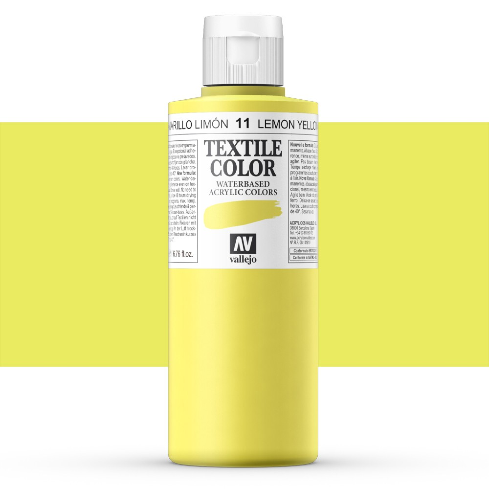 Vallejo : Textile Paint : 200ml : Lemon Yellow