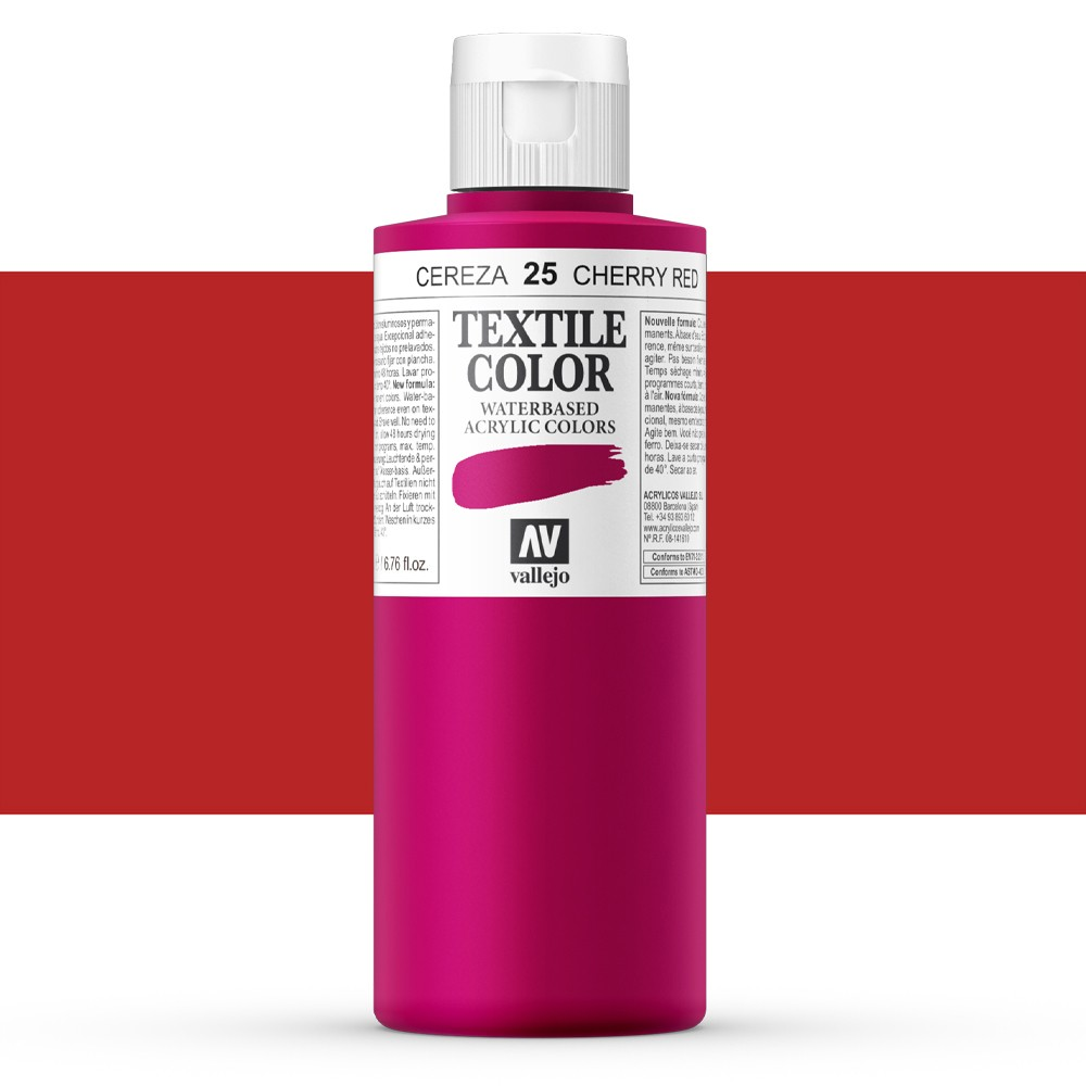 Vallejo : Textile Paint : 200ml : Cherry Red