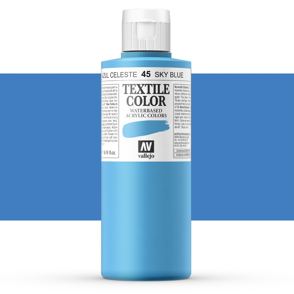 Vallejo : Textile Paint : 200ml : Oriental Blue