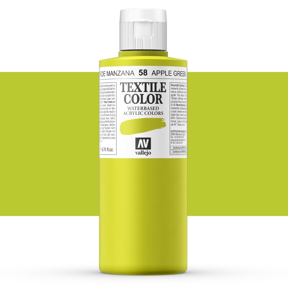 Vallejo : Textile Paint : 200ml : Apple Green