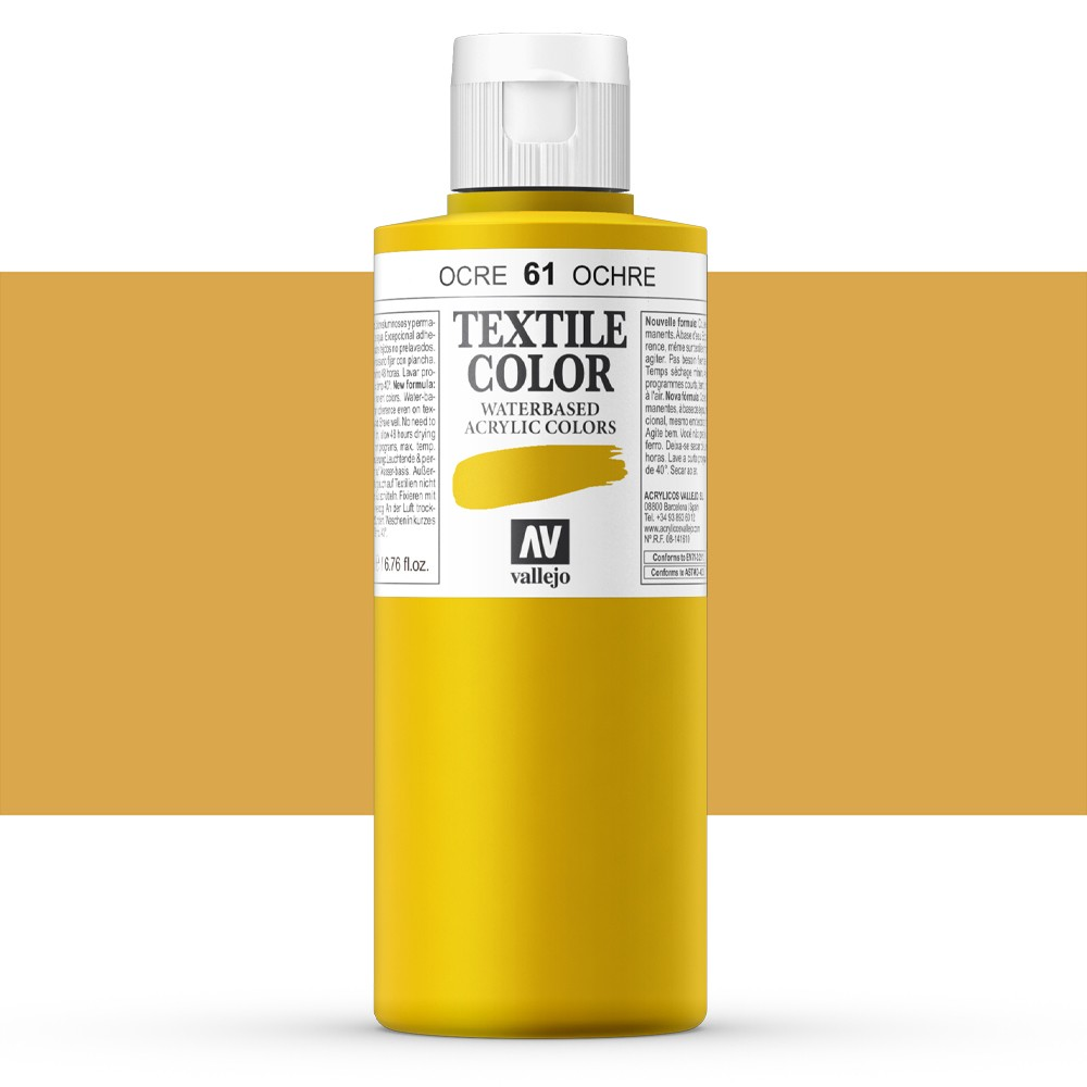 Vallejo : Textile Paint : 200ml : Yellow Ochre