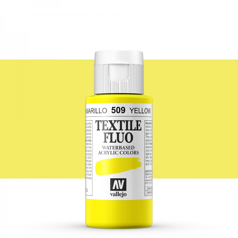 Vallejo : Textile Paint : 60ml : Fluorescent Yellow