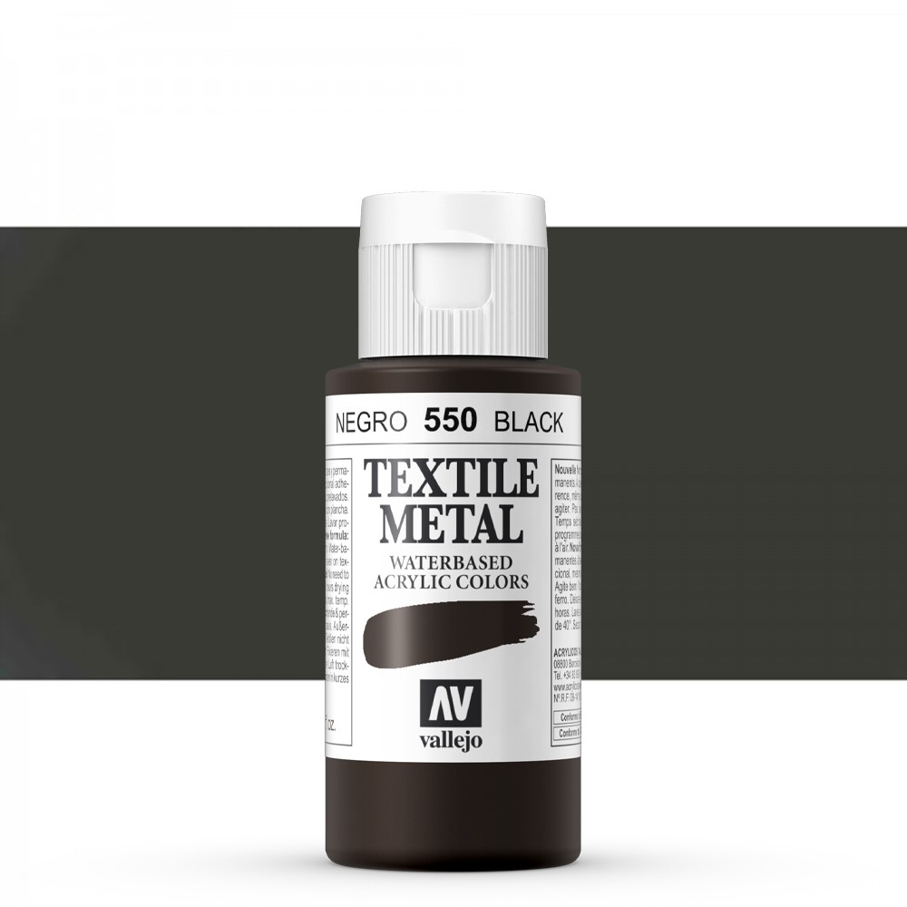 Vallejo : Textile Paint : 60ml : Metallic Black Pearl