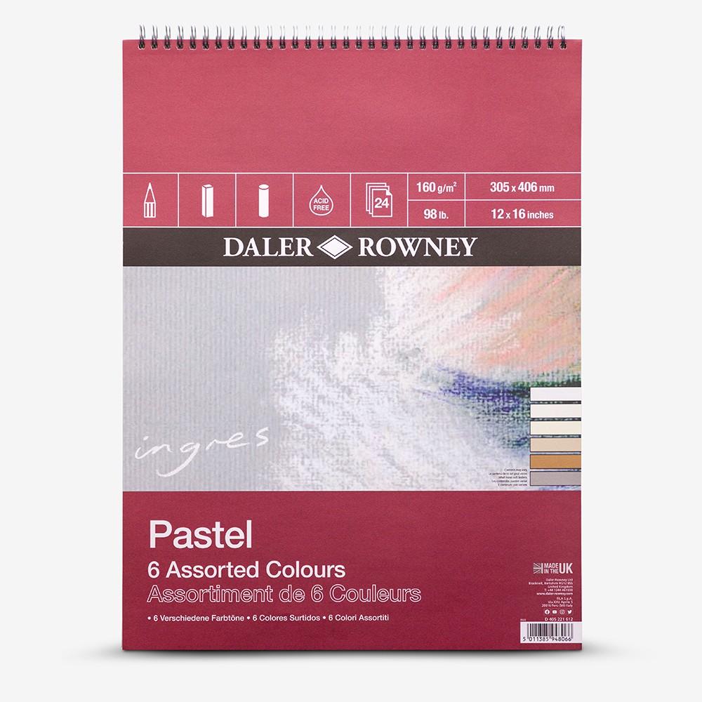Daler Rowney : Ingres : Pastel Paper : 160gsm : 24 Sheets : 12x16in : 6 Colours