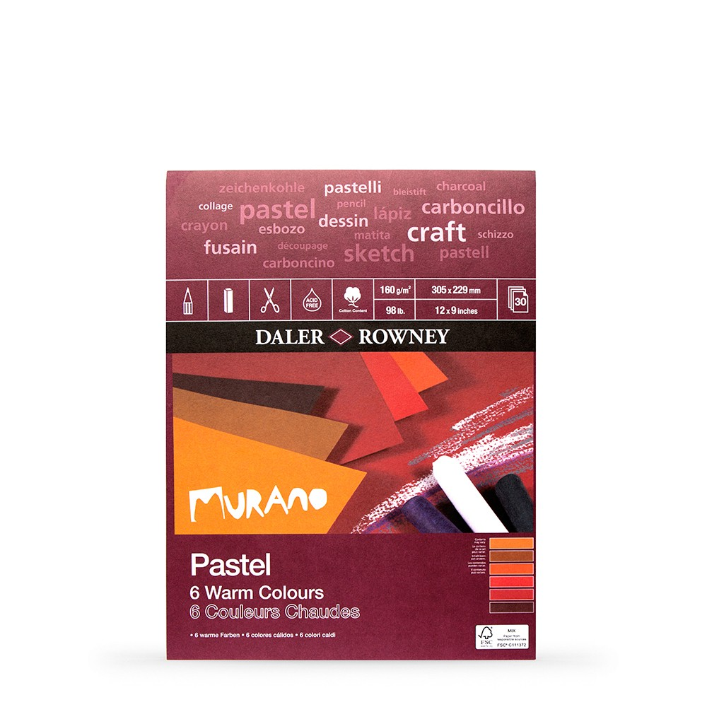 Daler Rowney : Murano : Pastel Pad : 9x12in : Warm Colours