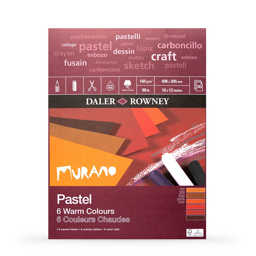Daler Rowney : Murano : Pastel Pad : 12x16in : Warm Colours