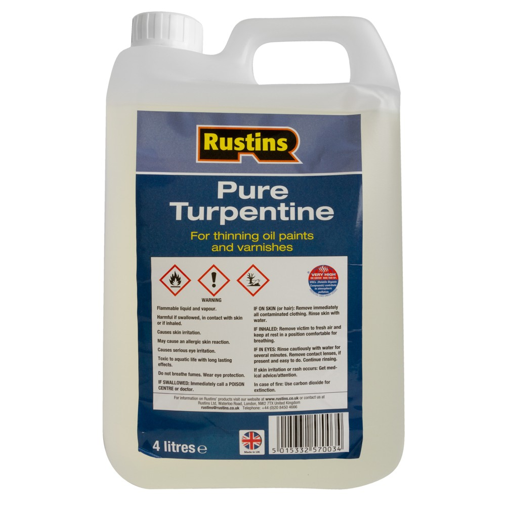 Rustin's : Pure Turpentine for Artists : 4 litre : Ship By Road Only