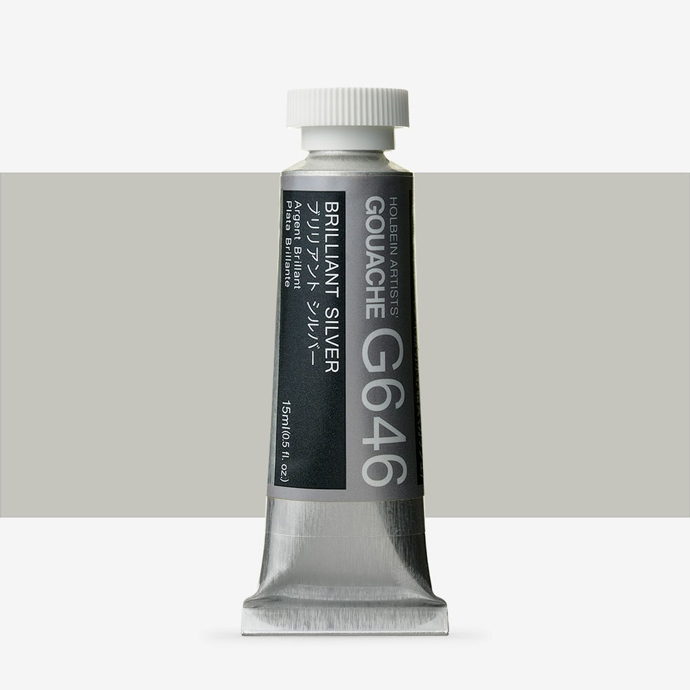 Holbein : Gouache Paint : 15ml : Brilliant Silver