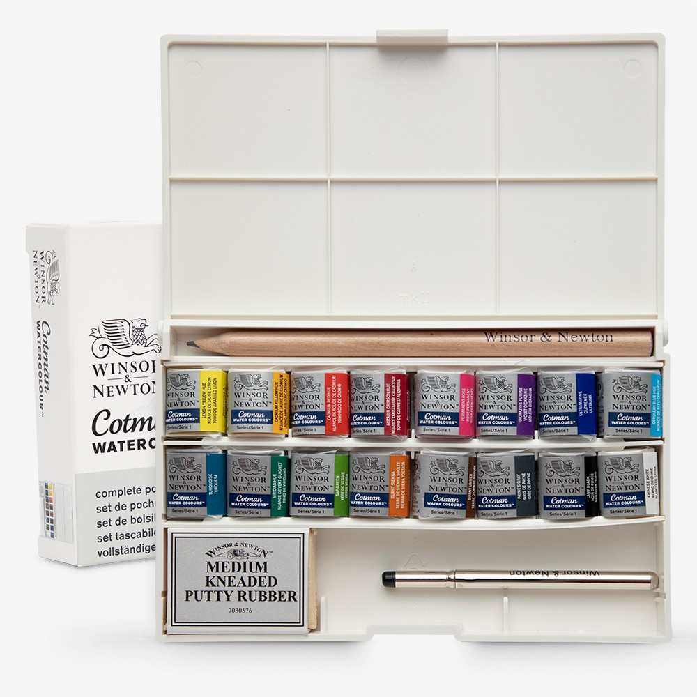 W&N : Cotman : Watercolour : Deluxe Sketchers Pocket Box Set : 16 Half Pans