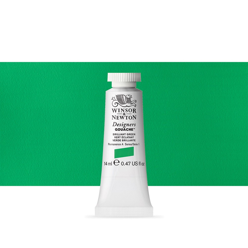 Winsor & Newton : Designer Gouache Paint : 14ml : Brilliant Green