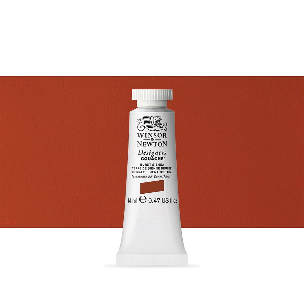 Winsor & Newton : Designer Gouache Paint : 14ml : Burnt Sienna