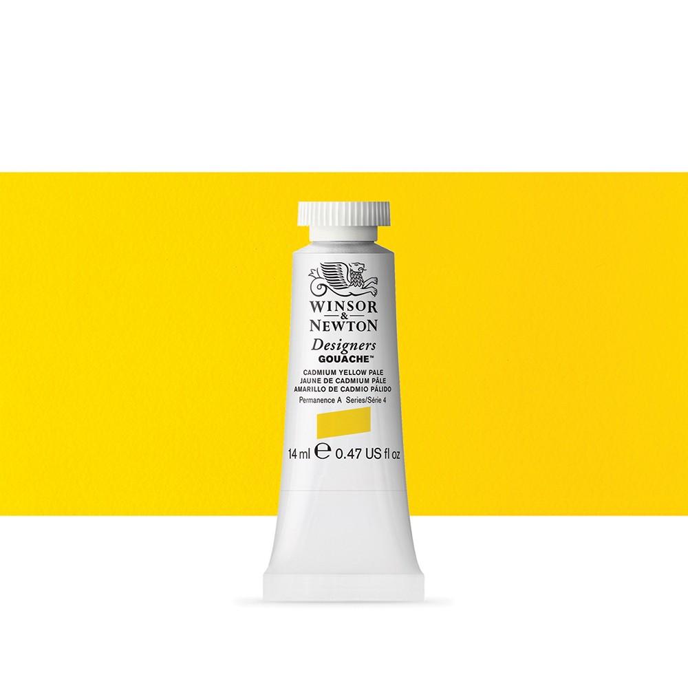 Winsor & Newton : Designer Gouache Paint : 14ml : Cadmium Yellow Pale