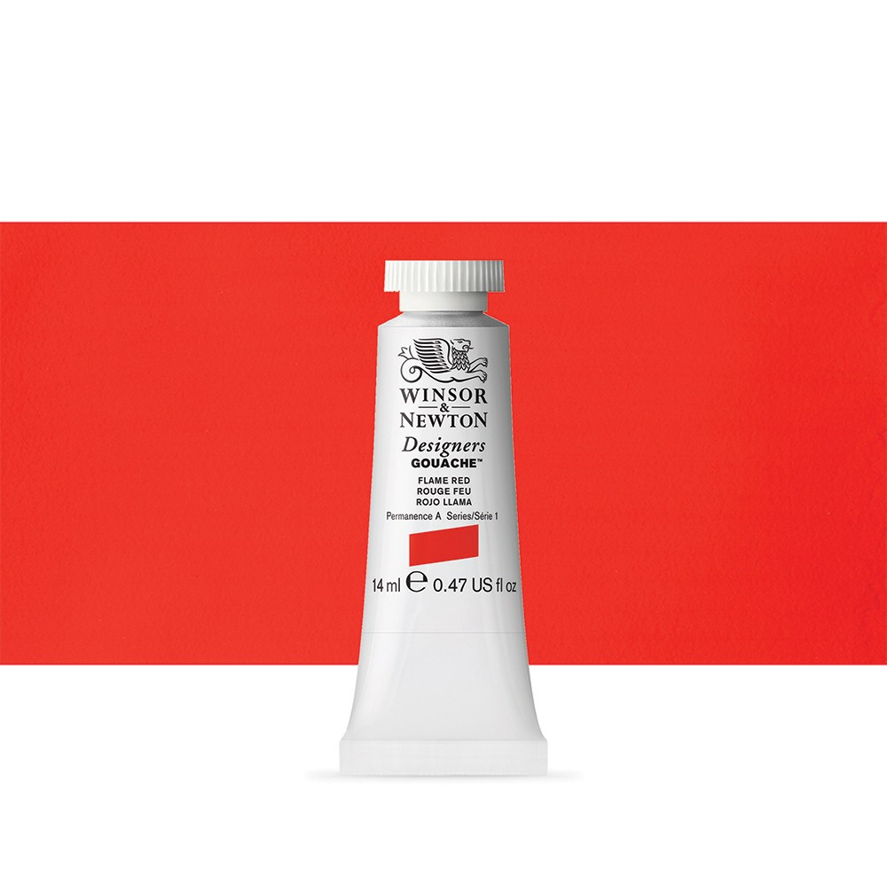 Winsor & Newton : Designer Gouache Paint : 14ml : Flame Red