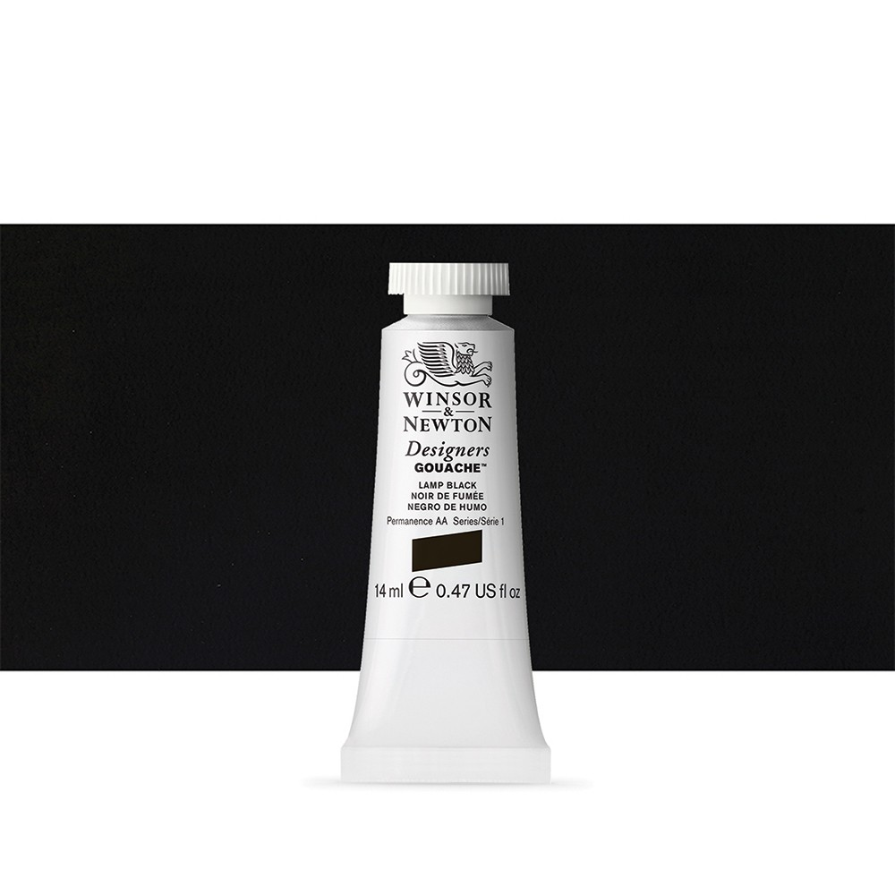 Winsor & Newton : Designer Gouache Paint : 14ml : Lamp Black