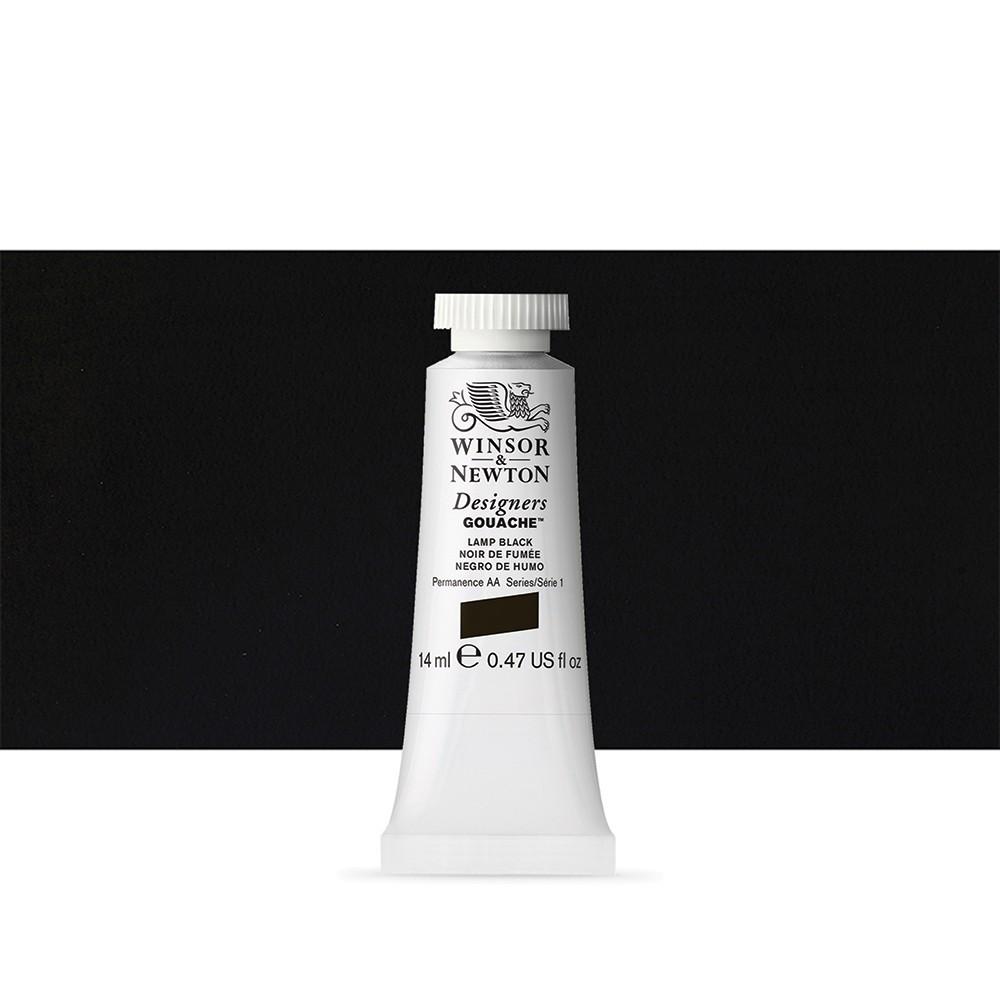 Winsor & Newton : Designer Gouache Paint : 14ml : Lamp Black