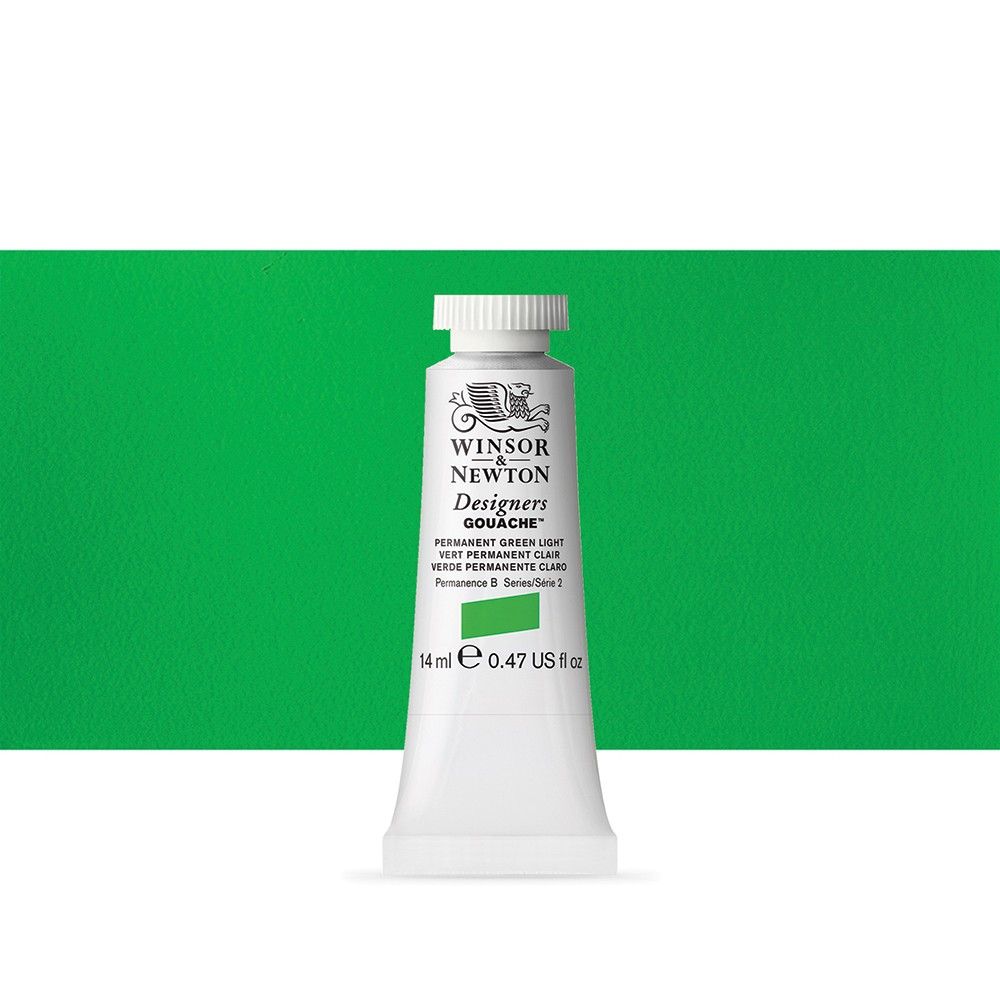 Winsor & Newton : Designer Gouache Paint : 14ml : Permanent Green Light