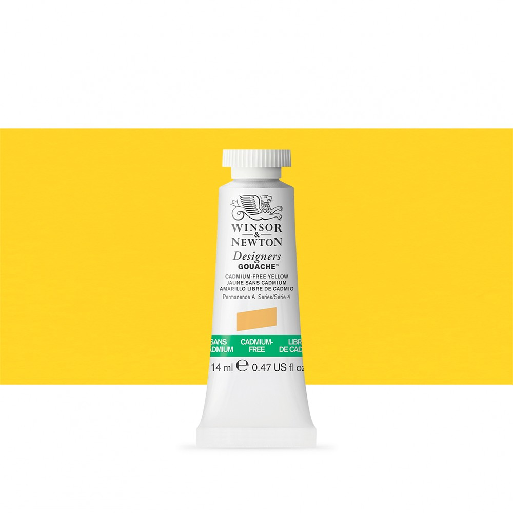 Winsor & Newton : Designer Gouache Paint : 14ml : Cadmium-Free Yellow
