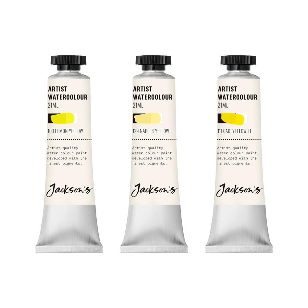 Jackson's : Artist Watercolour Paint : Yellow Set 1 : 21ml : Set of 3
