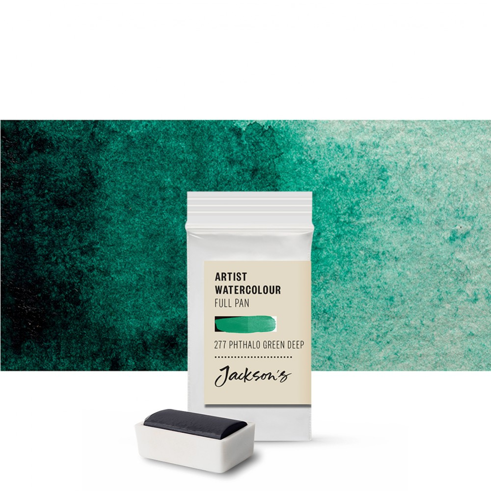 Jackson's : Artist Watercolour Paint : Full Pan : Phthalocyanine Green Deep