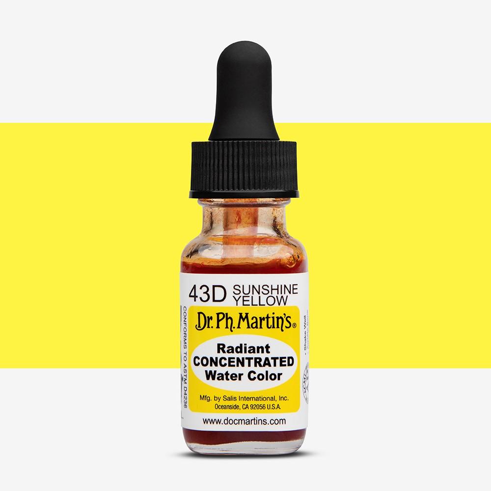 Dr. Ph. Martin's : Radiant Watercolour Paint : Dye : 15ml : Sunshine Yellow