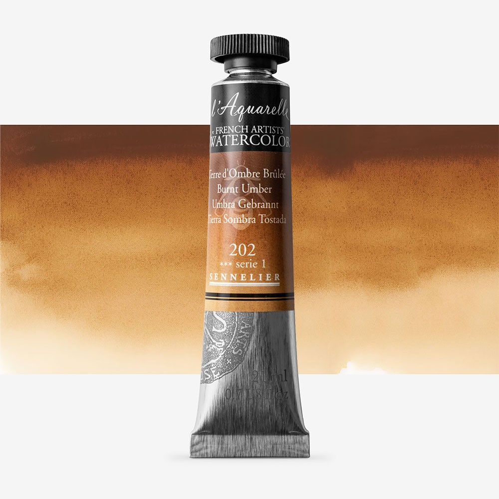 Sennelier : Watercolour Paint : 21ml : Burnt Umber