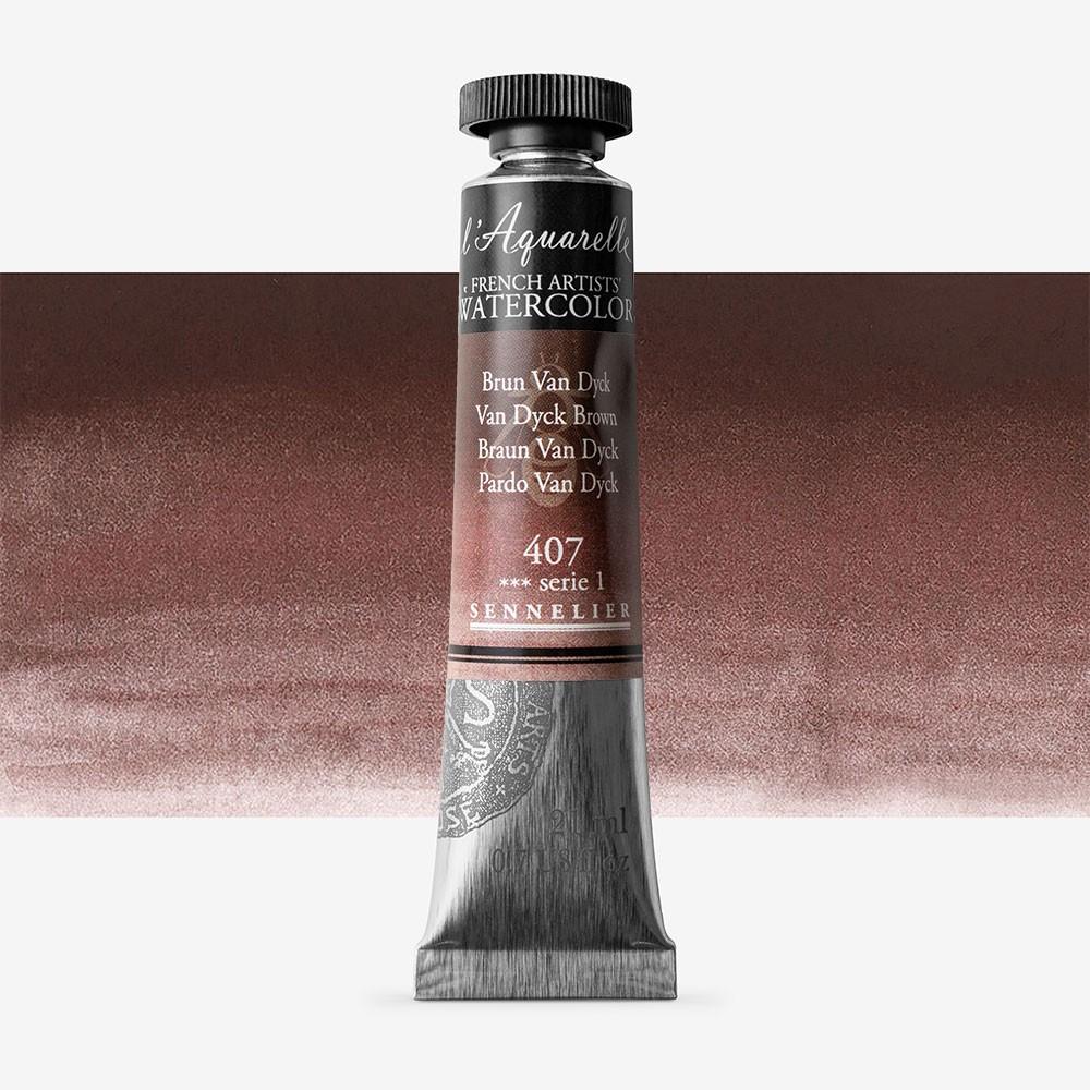 Sennelier : Watercolour Paint : 21ml : Van Dyck Brown