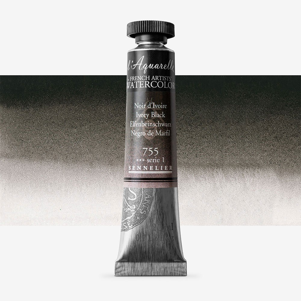 Sennelier : Watercolour Paint : 21ml : Ivory Black